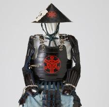 鉄黒漆塗り樋側胴と同仕立ての陣笠